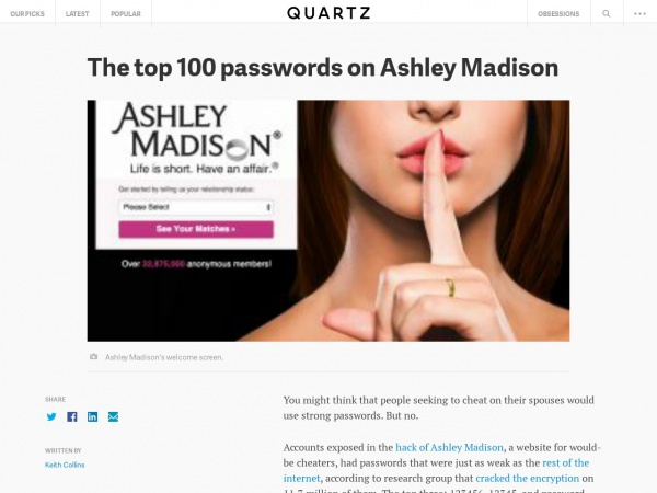 http://qz.com/501073/the-top-100-passwords-on-ashley-madison/